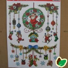Selvhæftende Jule Vinduesdekoration - Julemand inde i blomsterkrans