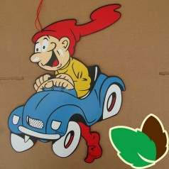 Bramming kravlenisse kører blå bil - Udendørs