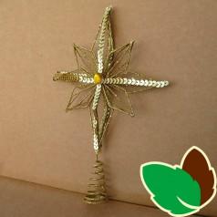 Juletræsstjerne Guld m. Palietter