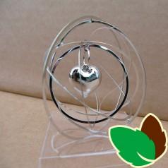 Rund 3D ophæng Sølv med Hjerte