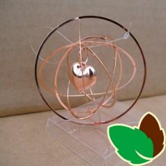 Rund 3D ophæng Kobber med Hjerte