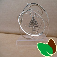 Rund 3D ophæng Sølv med Juletræ