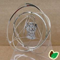 Rund 3D ophæng Sølv med Engle