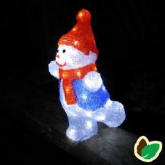 Snemand 35 cm. - Akryl LED Julebelysning