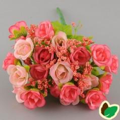 Blomster Buket Kunstig – Rød/Lyserød - 21 blomster