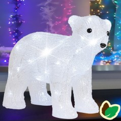 Isbjørneunge 41 cm. - Akryl LED Julebelysning