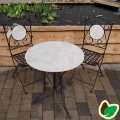 Cafesæt med Hvid stenplade