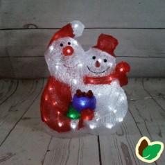 Julemand & Snemand 37 cm. - Akryl LED Julebelysning