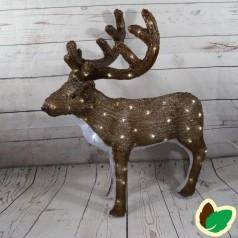 Kronhjort Brun 75 cm. - Akryl LED Julebelysning