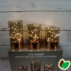 Lys Vaser - 3 glas vaser i kobber med lyskæder - Indendørs