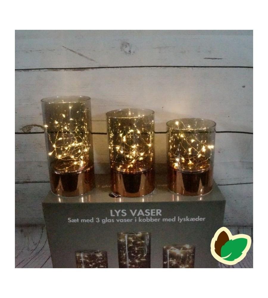 Ultra Lys Vaser - 3 glas vaser i kobber med lyskæder - Indendørs OS97