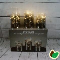 Lys Vaser - 3 glas vaser i Sølvsort med lyskæder - Indendørs