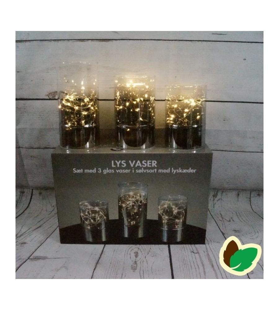 Fantastisk Lys Vaser - 3 glas vaser i Sølvsort med lyskæder - Indendørs CV03