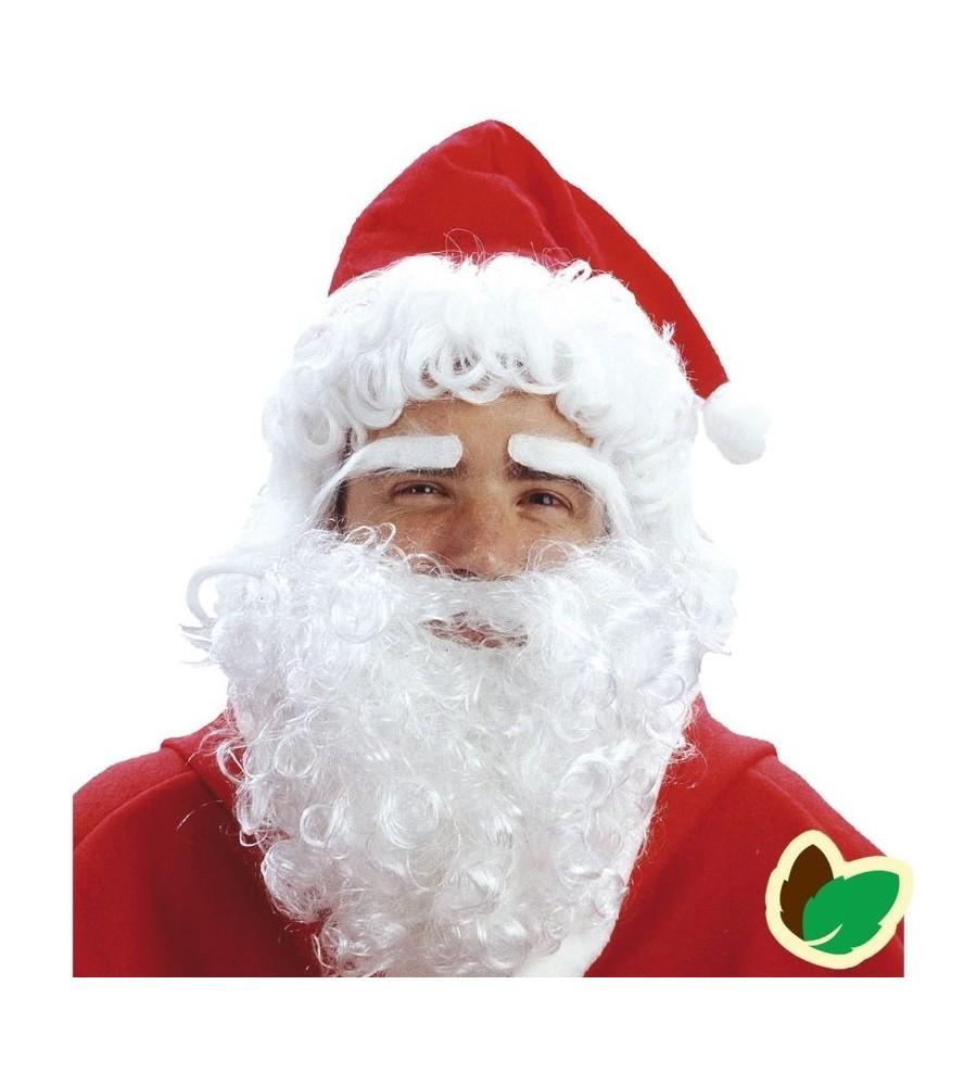 Julemandshue med skæg og øjenbryn