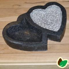 """Fuglebad """"Dobbelt hjerte"""" Grå granit"""