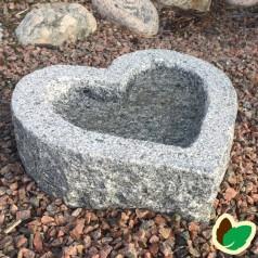 Fuglebad hjerteformet - Grå Granit