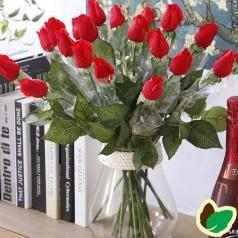 Rose Rød langstilket - Kunstig