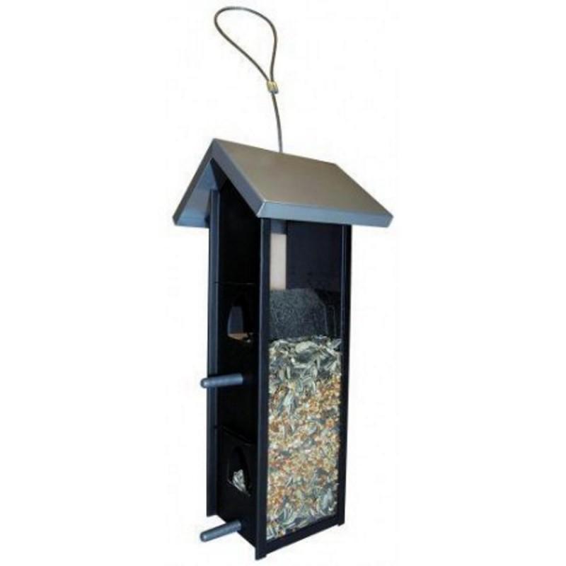 Fuglefoderautomat sort med blank tag