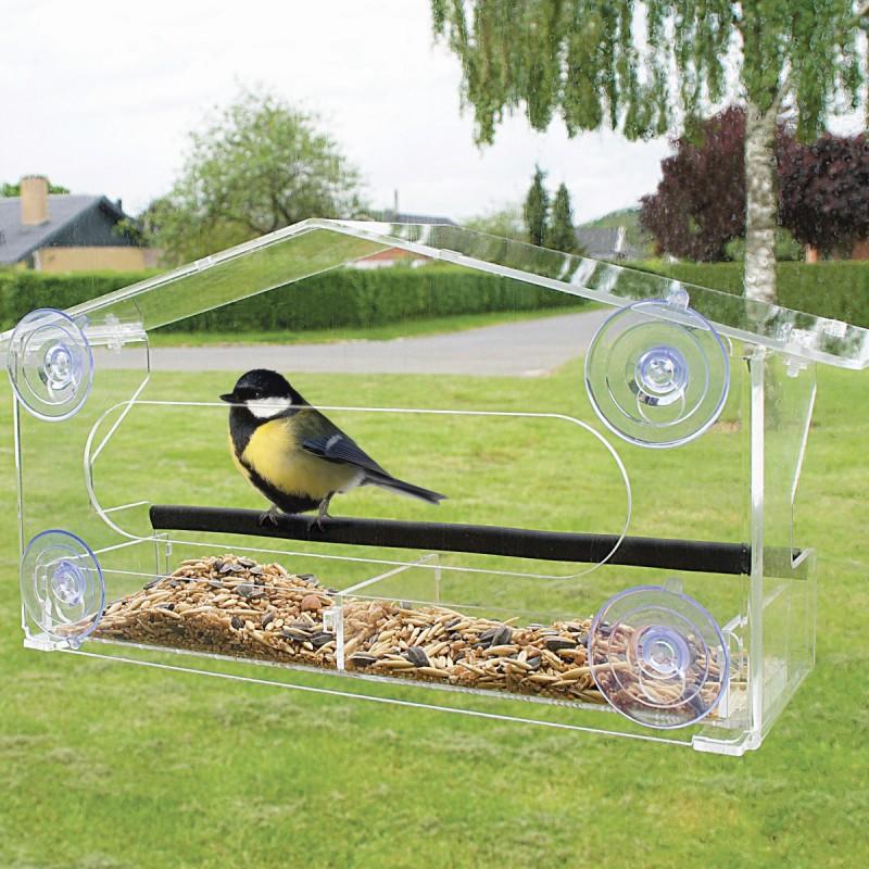Fuglefoderhus til vindue klar acryl