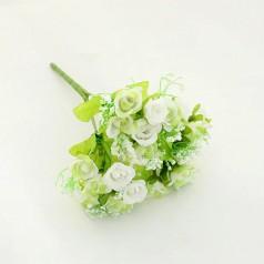 Blomster Buket Kunstig – Hvid/Lysegrøn - 21 blomster