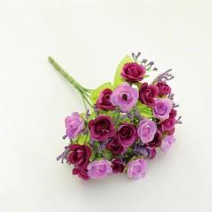 Blomster Buket Kunstig – Mørk/Lys Lilla - 21 blomster