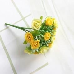 Blomster Buket Kunstig – Gul/Creme - 21 blomster