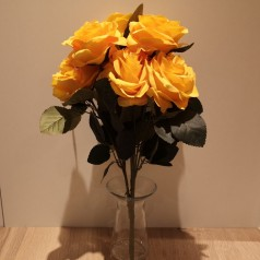 Roser Buket Kunstig – Gul - 10 blomster