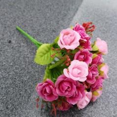 Blomster Buket Kunstig – Lyslilla / Lyserød - 21 blomster