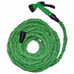 Flexibel vandslange med bruser - 15 m. Grøn