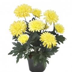 Chrysanthemum - Gul - Kunstig potteplante