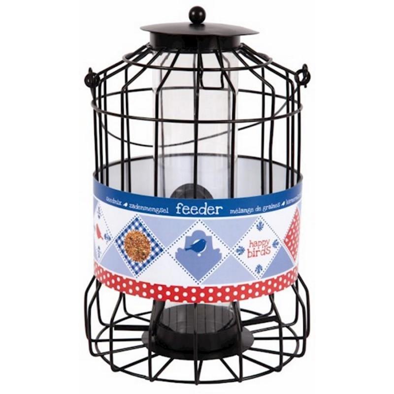 Beskyttet foderautomat til fuglefrø