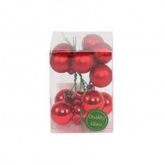 Julekugle røde m/tråd, 12 stk