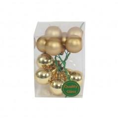 Julekugle guld m/tråd, 12 stk