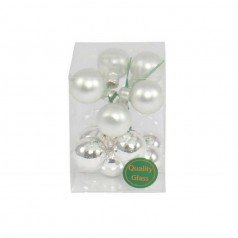 Julekugle sølv m/tråd, 12 stk