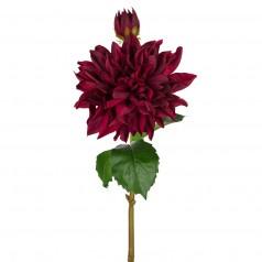 Kunstig dahlia stilk 70 cm. vinrød