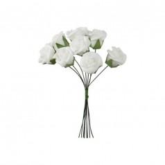 Hvide skum roser D2, 8 stk
