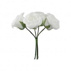Hvide skum roser D5, 4 stk
