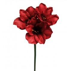 Kunstig Amaryllis stilk, 65cm mørk rød