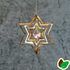 Stjerneophæng 3D Guld med sølvsten i midten